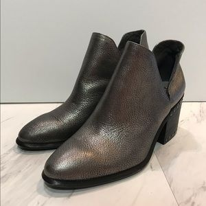 Vince Camuto Split Shaft Gray Pebbled Booties